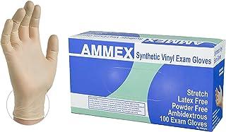 دستکش یکبار مصرف امتحانی وینیل مصنوعی AMMEX - پاک ، 4 میل ، کشش ، بدون لاتکس ، بدون پودر ، محیط جوش ، متوسط ، جعبه 100