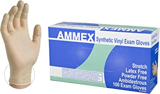 AMMEX Medical Clear Synthetic Vinyl Gloves -  4 mil, Stretch, Latex Free, Powder Free, Disposable, Non-Sterile, Large, VSPF46100, Case of 1000