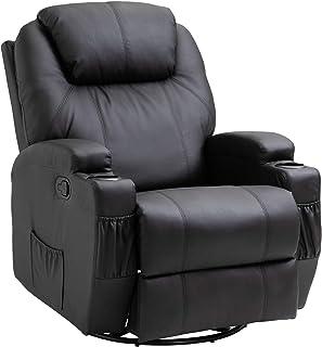 HOMCOM Fauteuil de Massage Relaxation électrique Chauffant inclinable pivotant 360° avec Repose-Pied Ajustable revêtement ...