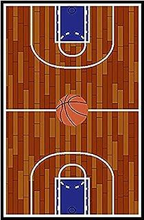 Furnish my Place 690 Rust Basketball Ground Kids Area Rug, 3'3 x 5'