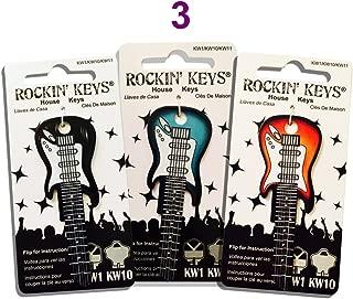 Set of 3 Sunburst, Black and Surf Green Electric Guitar Rockin' Keys (KW1/KW11)