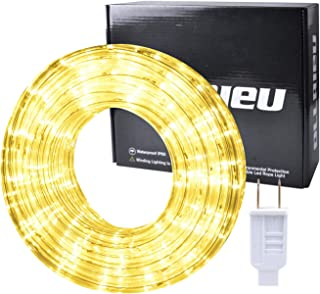 ollrieu LED Rope Lights Outdoor 50ft Warm White Rope Lighting Kit Flexible Connectable 3000K 110V UL Listed Power Plug-in Indoor Decorative Strip for Patio Deck Bedroom Yard