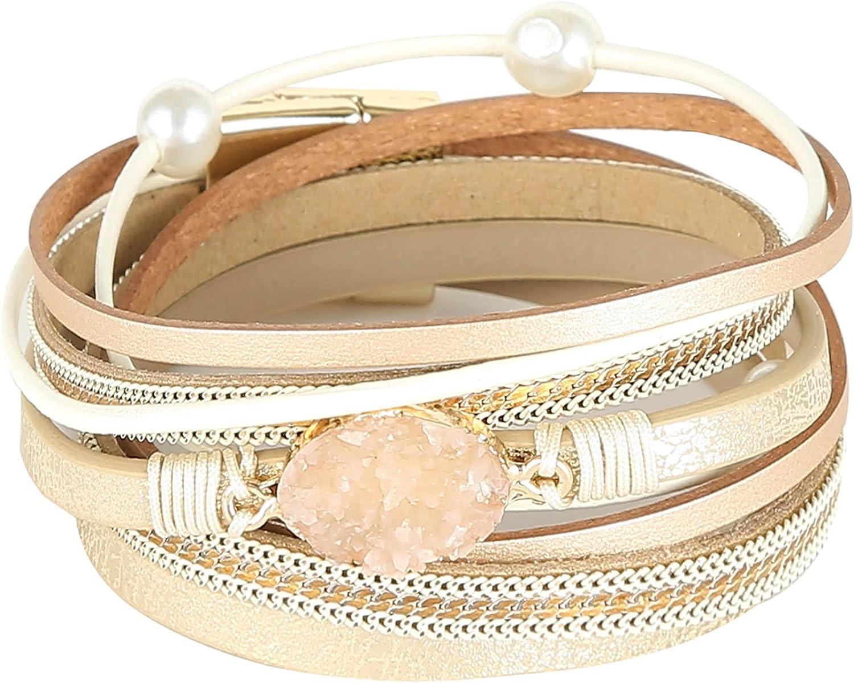 ABOJOY Leather Cuff Bracelet Magnetic Multi Strand Wrap Boho Cuff Bracelets Crystal Bead Bracelet with Magnetic Clasp Jewelry Gifts for Women Girls