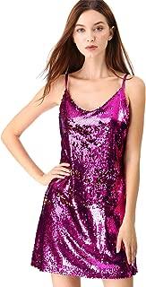 Women's Glitter Sparkle Adjustable Strap Mini Party Sequin Dress