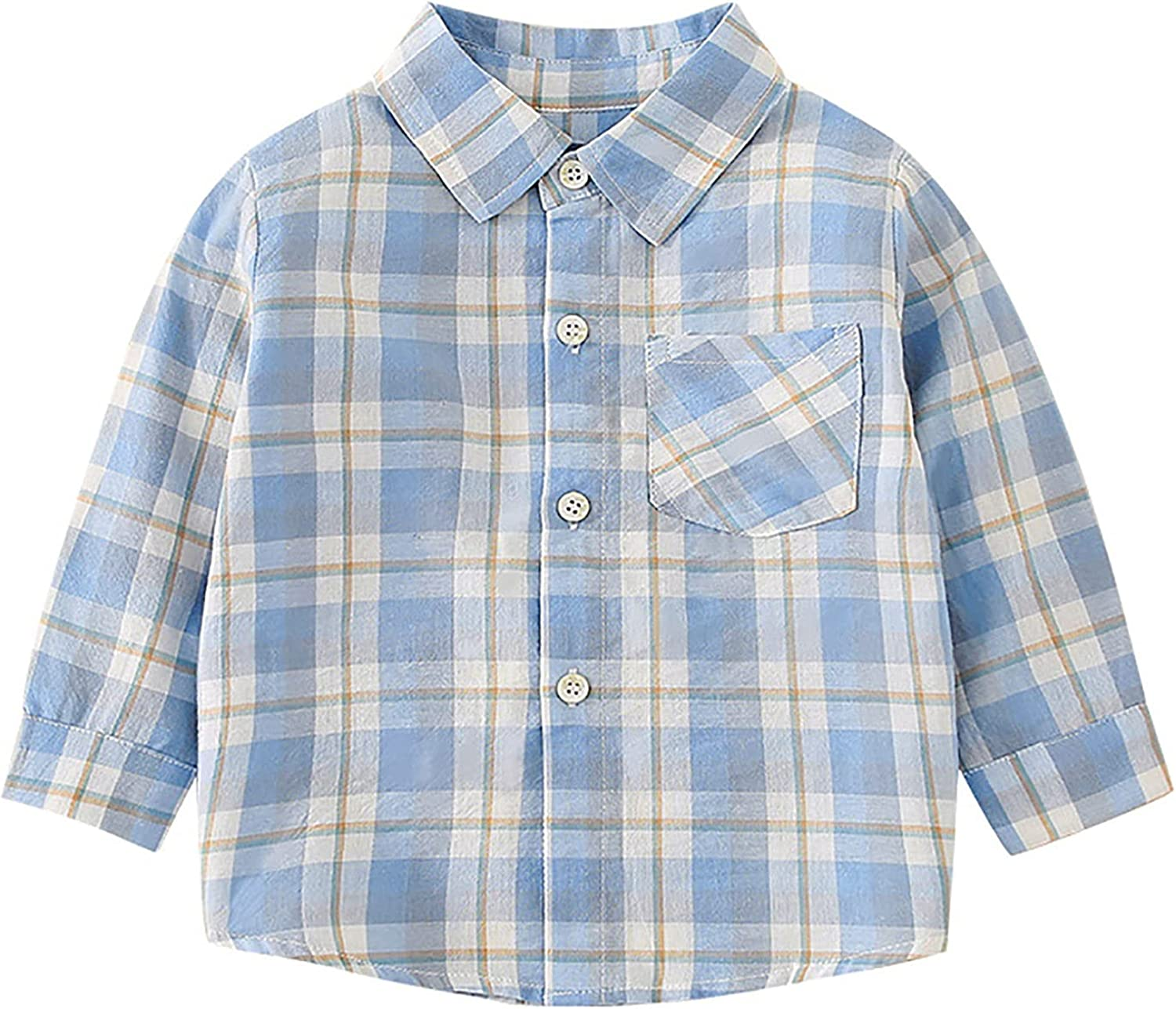 ACSUSS Infant Baby Boys Long Sleeve Button Up Shirt Toddler Buffalo Plaid T-Shirt with Pocket Fall Winter Clothes