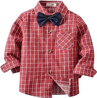18097d6776d AIKSSOO Boys Shirt Long Sleeve Chest Single Pocket Bowtie Plaid Button Down  Shirt