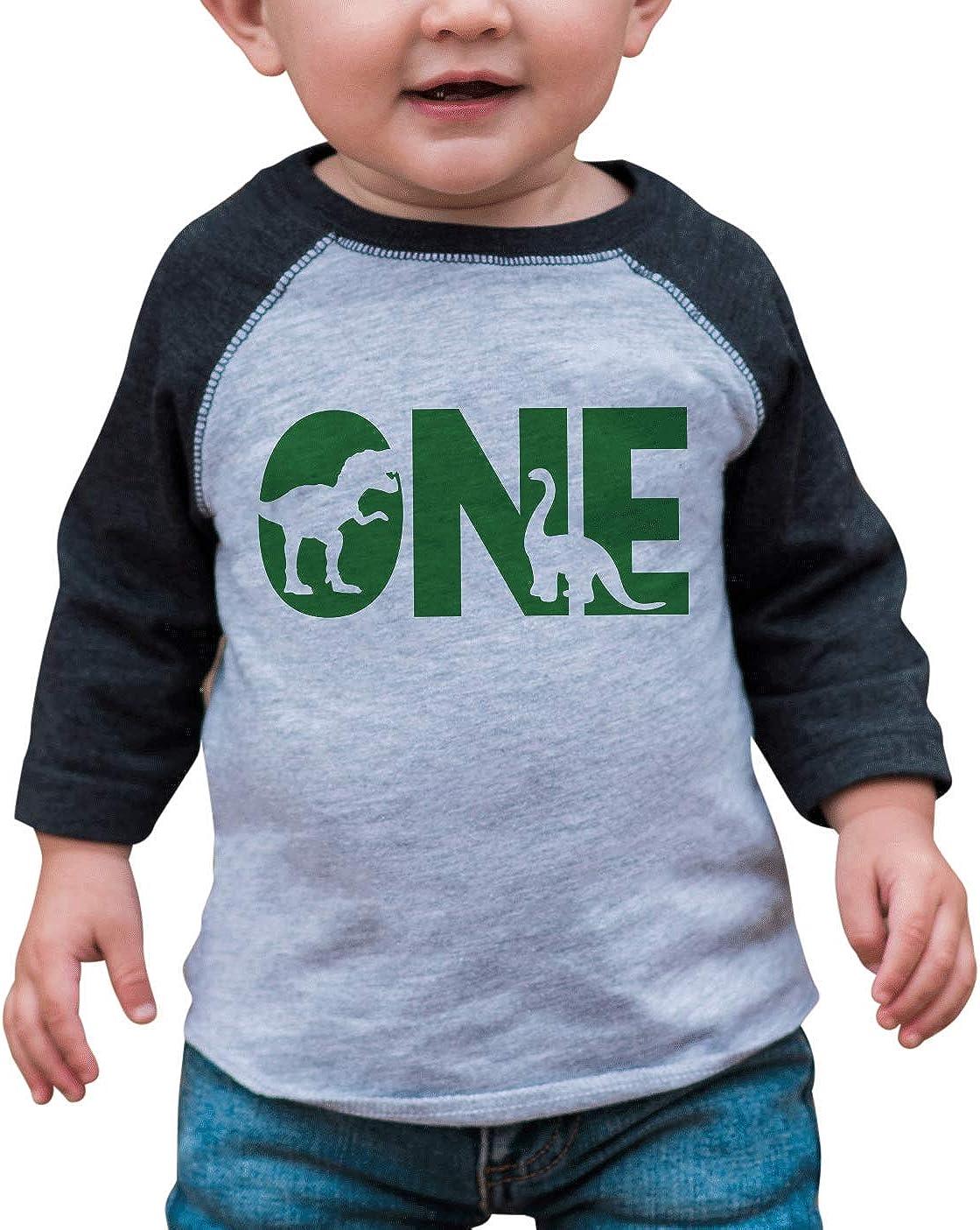 7 ate 9 Apparel One 1st 1 First Birthday Dinosaur Green Dino Grey Baseball Tee