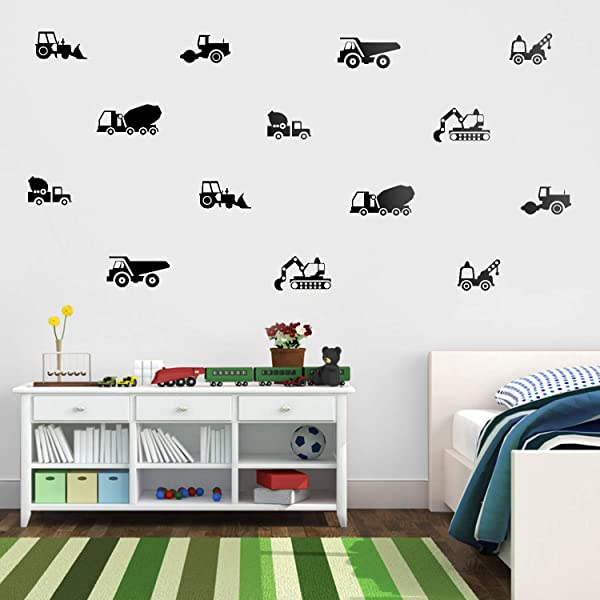 Set Of 14 Vinyl Wall Art Decals Construction Vehicles From 3 To 7 Each Cool Trendy Toddler Boys Girls Home Bedroom Playroom Nursery Daycare Apartment Kindergarten From 3 To 7 Each Black