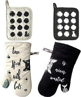 ZORR Guantes de Horno algodón con 2 Soportes para los Amantes de los Gatos, Guantes de Horno Resistentes al Calor para cocinar y Hornear