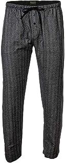 Novila Men's Web Trousers - Lounge Trousers, Homewear, Cotton Flannel, Herringbone Pattern Navy S (Small)