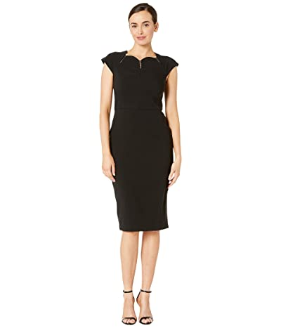 Maggy London Dream Crepe Sheath Dress with Ladder Trim Detail (Black) Women