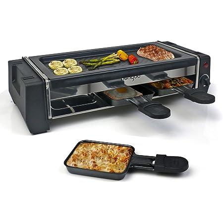 HengBo Appareil Raclette pour 2 Personnes, Appareil à Raclette Multifonction avec Plaque Grill Fonte et 3 Poêles, Revêtement Anti-adhésif, Facile à Nettoyer, 700W - Noir