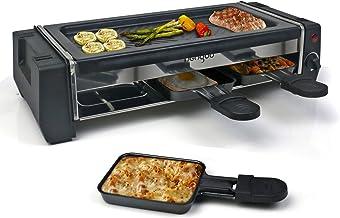 HengBo Appareil Raclette pour 2 Personnes, Appareil à Raclette Multifonction avec Plaque Grill Fonte et 3 Poêles, Revêteme...