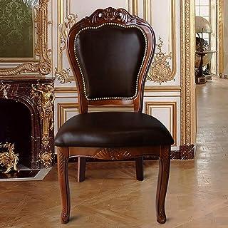 ShiSyan Silla de Comedor Comedor Europea for sillas de Negociación de café de Madera Maciza Duradero Durable fácil de Montar Sillas 2 Piezas de Cocina (Color: Marrón, Tamaño: 52x55x108cm) Sillas