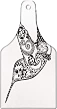Ambesonne Bird Cutting Board, Monochrome Style Zentangle Style Flying Hummingbird Silhouettes Print, Decorative Tempered Glass Cutting and Serving Board, Wine Bottle Shape, Charcoal Grey and White