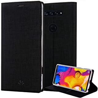 LG V40 ThinQ Case, LG V40 Case, PU Leather Wallet Slim Thin Case Flip Folio [Kickstand Feature] with Card Holder TPU Bumper Full Cover for LG V40 ThinQ (Black, LG V40 ThinQ)