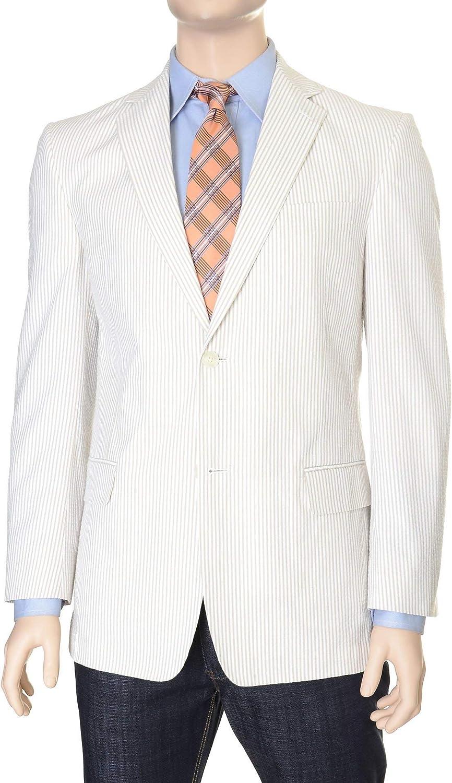 Haspel Regular Fit Tan Seersucker Striped Half Lined Cotton Blazer Sportcoat