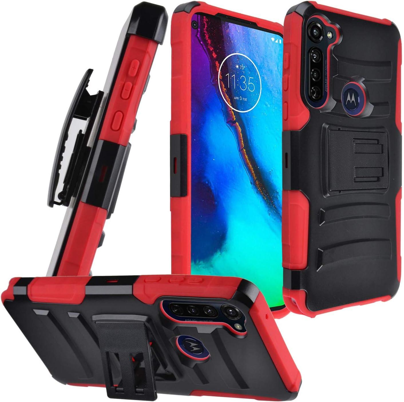 CELZEN - for Motorola Moto G Stylus XT2043, Moto G Power XT2041 (2020 Version) - Hybrid Phone Case w/Stand/Belt Clip Holster - CV1 Red