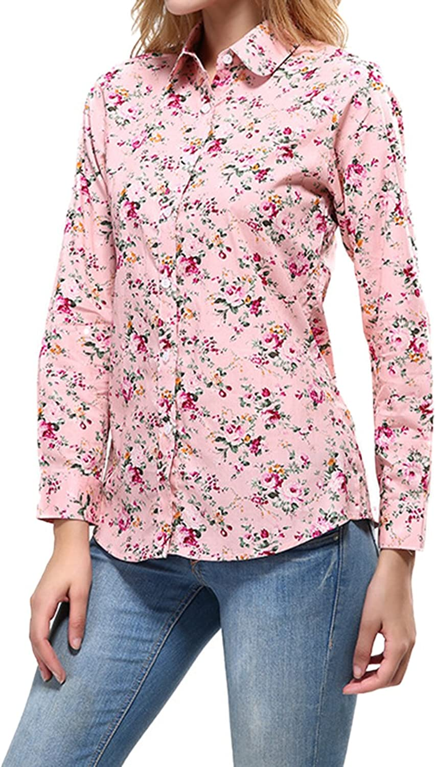 Cekaso Women's Long Sleeve Shirt Round Collar Floral Print Cotton Button Up Shirt
