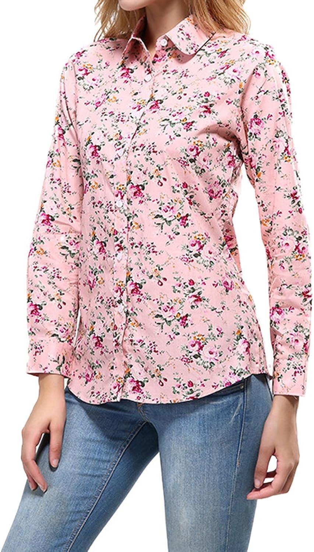 Cekaso Women's Long Sleeve Shirt Round Collar Floral Print Cotton Button Up Shirt