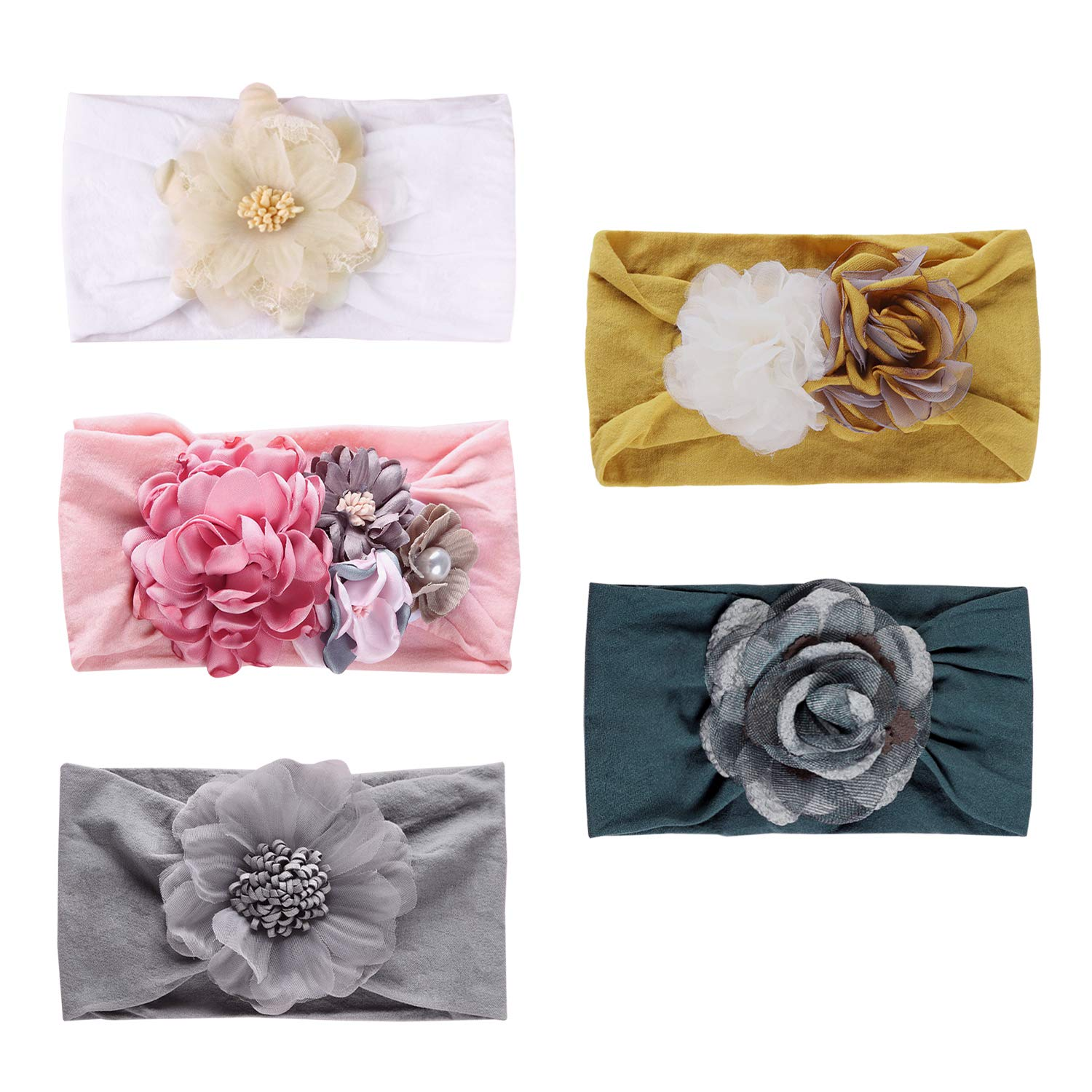 Funtopia 5Pcs gift Super Stretchy Nylon Ba Flowers Headbands Be super welcome for with