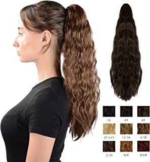Sofeiyan Claw Clip in Ponytail Hair Extension Synthetic Long Corn Wave 20 Inch Curly Ponytail Hairpiece for Women Daily Party Use, Medium Brown