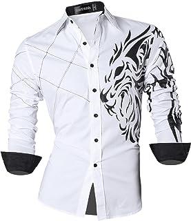 Sportrendy Hombre Moda Verano Camisetas de Manga Corta Men Shirts Slim Fit Casual Fashion Tops JZS055