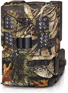 WOSPORTS Trail Camera Full HD 1080P Hunting Game Camera,Motion Activated Night Vision, Waterproof Scouting Cam 2.0 Inch LCD Wireless Video Camera for Wildlife Monitoring/Home Security (Round)
