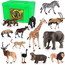 Volnau Animal Figurines Toys Africa Animals Figures for Kids Zoo Pack Preschool Educational and Lion Jungle Forest King Animals Sets, BPA Free