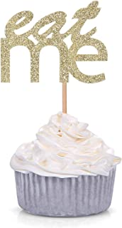 24 Gold Glitter Eat Me Cupcake Toppers Baby Shower Alice in Wonderland Wedding Dessert Decorations
