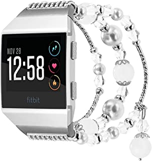 For Fitbit Ionic Bands, WINTOFW Replacement Accessories Straps Bracelet Wristband with Artificial Agate Crystal Pearl Elastic Stretch Bead for Fitbit Ionic Smart Watch Women Girls (White)