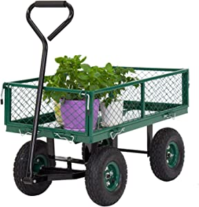 Kinsuite Steel Dump Cart with Removable Sides Patio Wagon 650 Lbs Load Capacity with Handle Pneumatic Tires