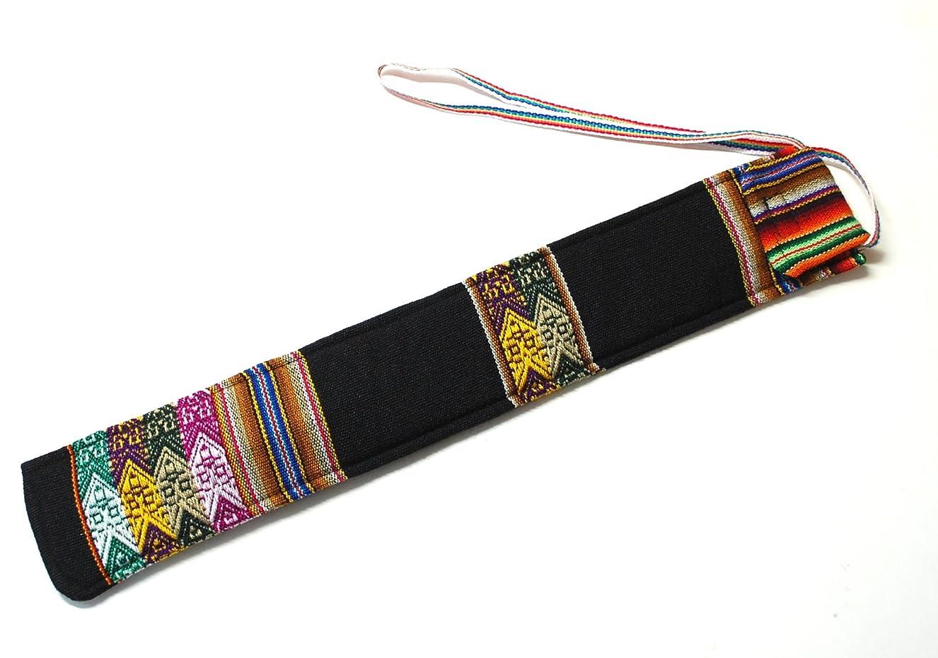 サークル既にバクテリア【QUENA SOFT CASE BLACK 】民族楽器ケーナ用の布ケース G管用のケーナ アンデス織物アワイヨ柄布のベース色はブラック(黒)
