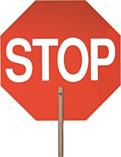 Safety Flag Stop/Stop Aluminum Paddle Sign (Double-Sided), 14 inches