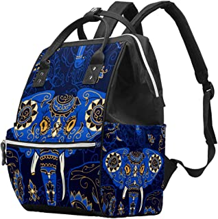 Diaper Bag Multi-Function Waterproof Travel Backpack Nappy Bags for Baby Care with African Elephant Pattern