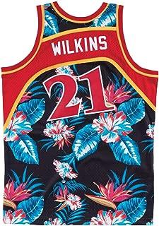 Mitchell and Ness Wilkins Floral Hawks Swingman Jersey (18270-AHABLCK86DWI)