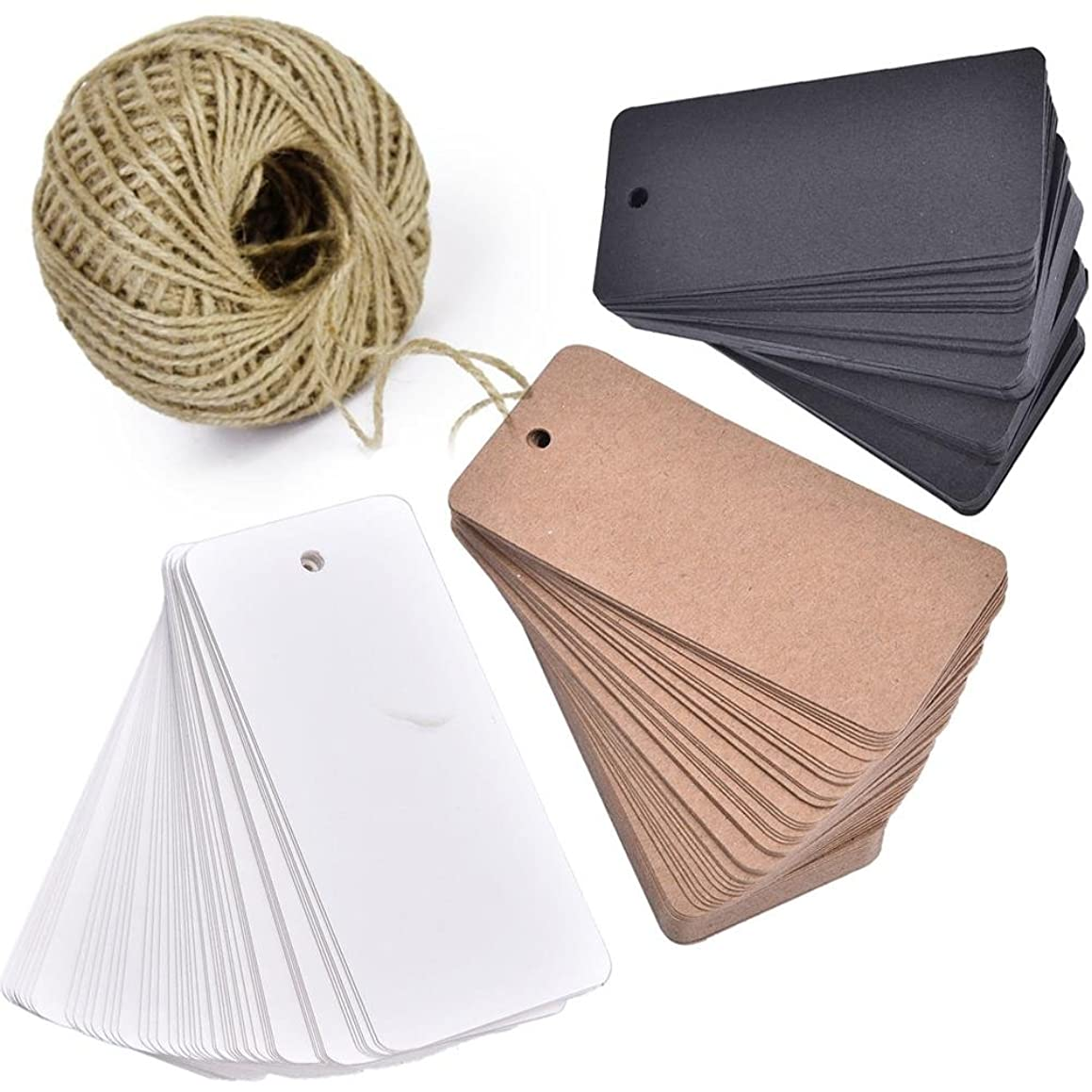 Lwestine 150pcs Kraft Paper Gift Tags, Blank Card with 100 Feet Natural Jute Twine for Crafts & Price Tags Lables (Brown, White, Black)