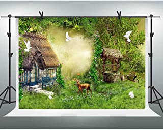 FHZON 10x7ft Fairy Tale Backdrop Fantasy Enchanted Forest Mist Green Grass Cottage Photography Background Cartoon Themed Wallpaper Video Studio Props GYFH847