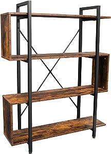 Becko US Bookshelf Vintage Industrial Bookcase 4 Tier S Shaped Display Book Shelves Storage Rack Shelves Z Shaped Shelges for Bedroom Home Office Living Room Entryway Hallway (Rustic Brown)