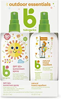 Babyganics Baby Sunscreen Spray 50 SPF and Bug Spray, 6oz each, Packaging May Vary