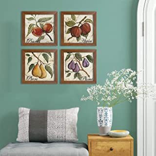 Painting Mantra - Fruits Set of 4 Brown Framed Painting,UV Textured Art Prints (9 x 9 inch)