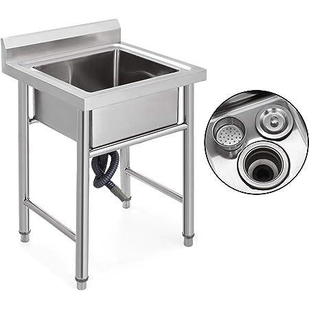 Olibelle Evier en Acier Inoxydable Professionnel avec 1 Compartiments de 17,5x16,5x10pouces Evier sur Pied Evier Simple Cuve de Cuisine