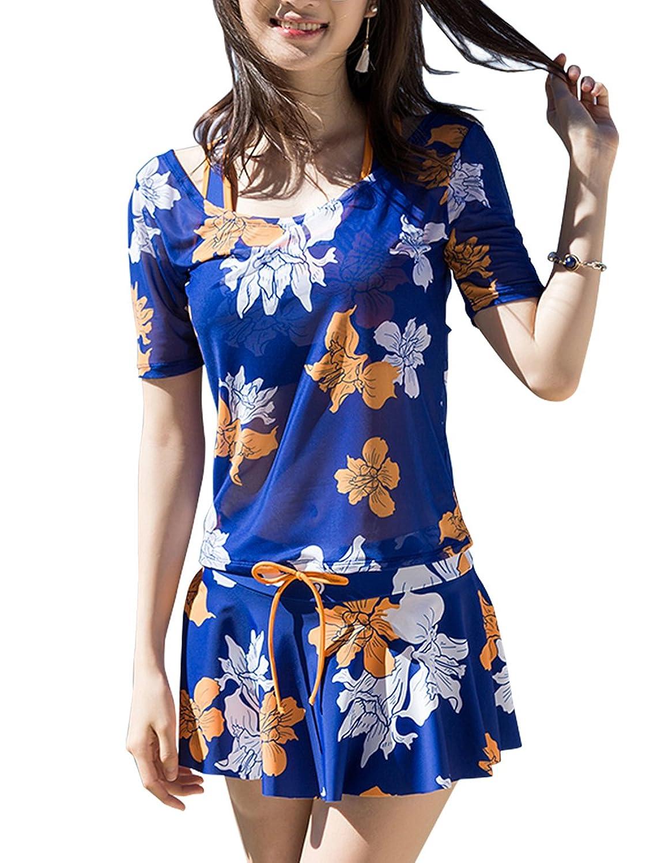 MOECAT 水着レディース 体型カバー 可愛い花柄 タンキニ セパレート 大きいサイズ 半袖 UVカット 3点セット