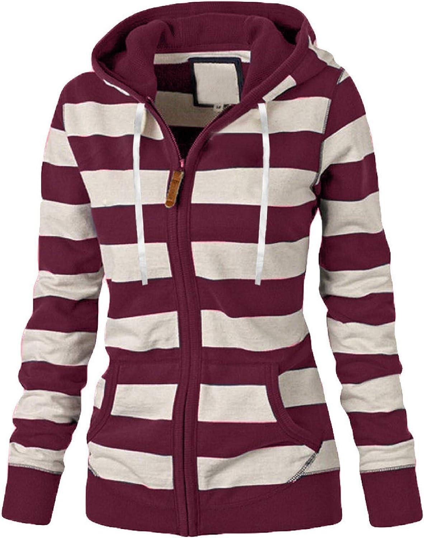 Amaeen Coats for Womens Fashion Striped Sweatershirt Coat Loose Long Sleeve Soft Oversized Casual Overcoat