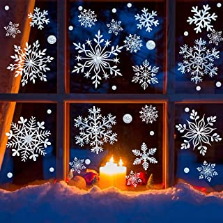 DC-BEAUTIFUL 318 Pcs Christmas Snowflakes Clings Decoration Set, White Christmas Theme Window Stickers, Winter Snow Flakes Clings Party Decal (10 Sheets)