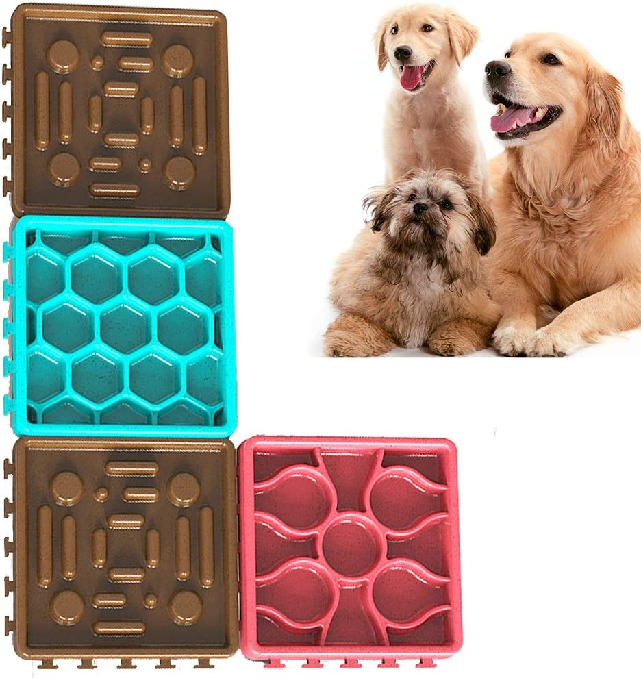 coffee Set BundleMall Pet Boredom Lick Mat Anxiety Relief,4 Pcs Dog Lick Mat Set 2pcs Dog Slow Feeder and 2 pcs Lick Placemat Pad Combo with Suction Cup,Slow Feeder Dog Bowl