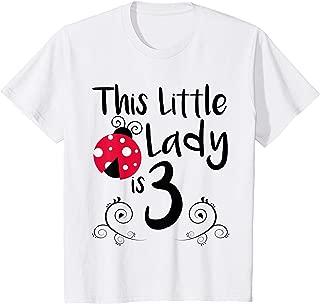 Kids 3 Year Old LadyBug Birthday T Shirt Lady Bug Party 3rd Gift