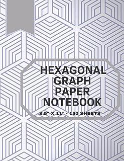 """Hexagonal Graph Paper Notebook: 150 pages hexagonal graph paper notebook sized 8.5"""" x 11"""" Inches - For drawing organic che..."""