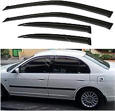 itelleti 4pcs Outside Mount Dark Smoke Sun//Rain Guard Front+Rear Tape-On Auto Window Visors For 05-19 Nissan Frontier 09-12 Suzuki Equator Crew Cab With 4 Full Size Doors
