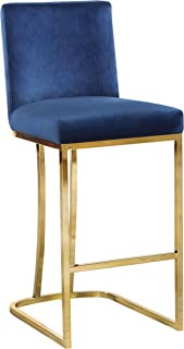 Meridian Furniture Heidi Collection Modern | Contemporary Navy Velvet Upholstered Counter Stool with Polished Gold Metal Legs, 16